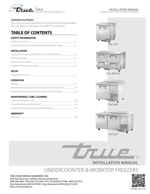 small resolution of true tuc 60f user manual
