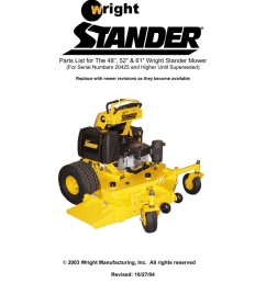 parts list for the 48 52 61 wright stander mower for serial numbers 20425 and higher until superseded replace with newer revisions as they become  [ 791 x 1024 Pixel ]