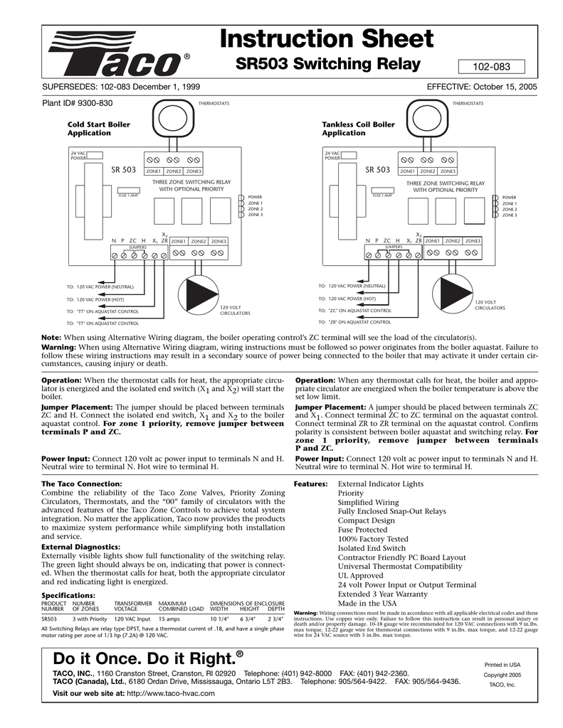 medium resolution of instruction sheet sr503 switching relay supersedes 102 083 december 1 1999 plant id 9300 830 102 083 effective october 15 2005 thermostats thermostats