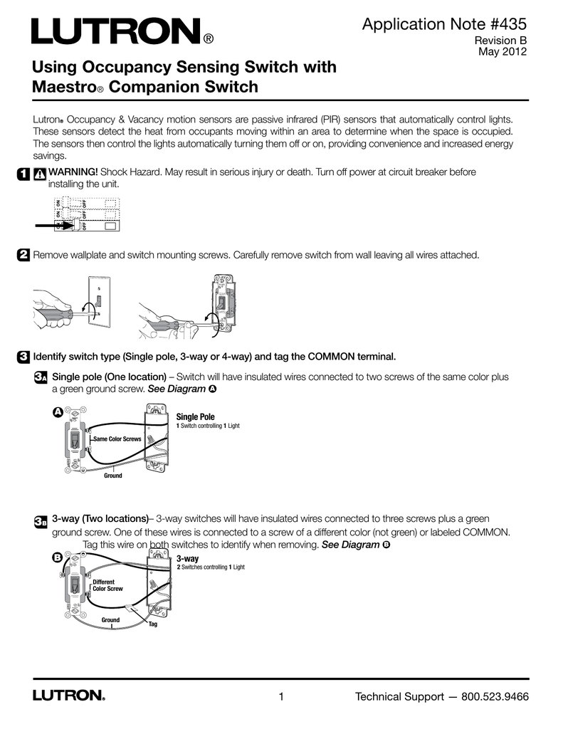 medium resolution of using occupancy sensing switch with maestro companion switch application note 435 manualzz com