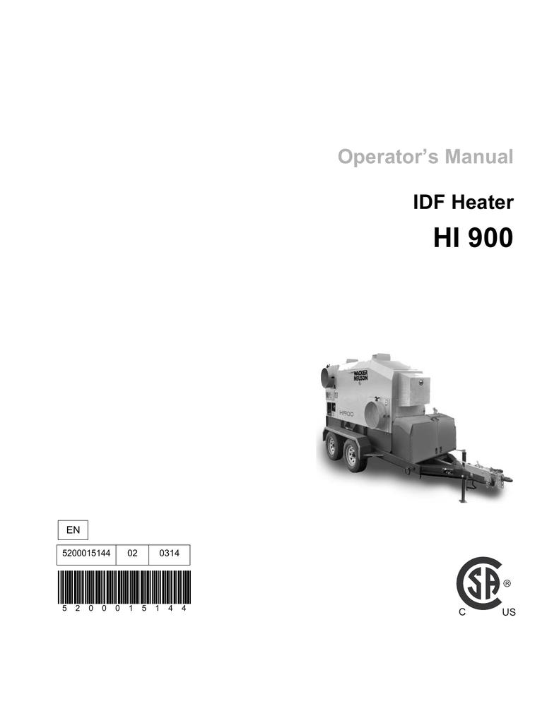 Wacker Neuson HI900 G, HI900DGM, HI900D, HI900G User