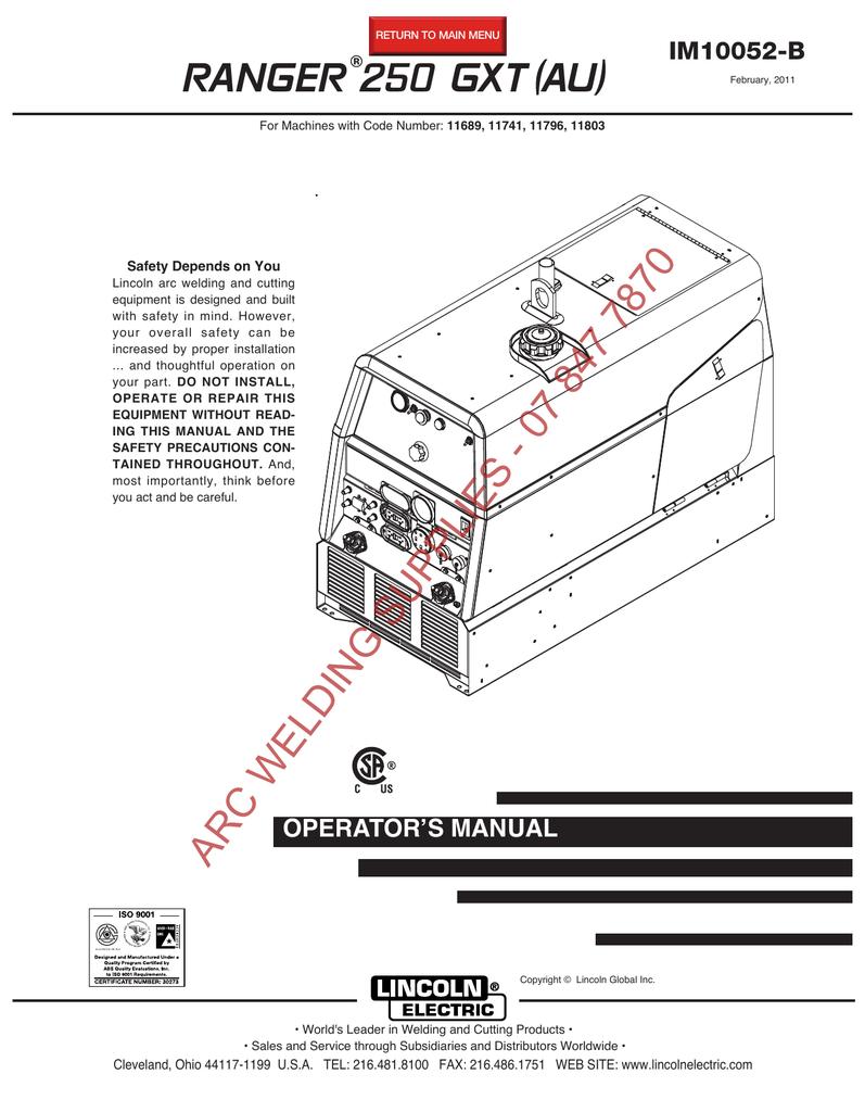 medium resolution of  wiring diagram miller ranger 250 gxt au im10052 b manualzz com on lincoln