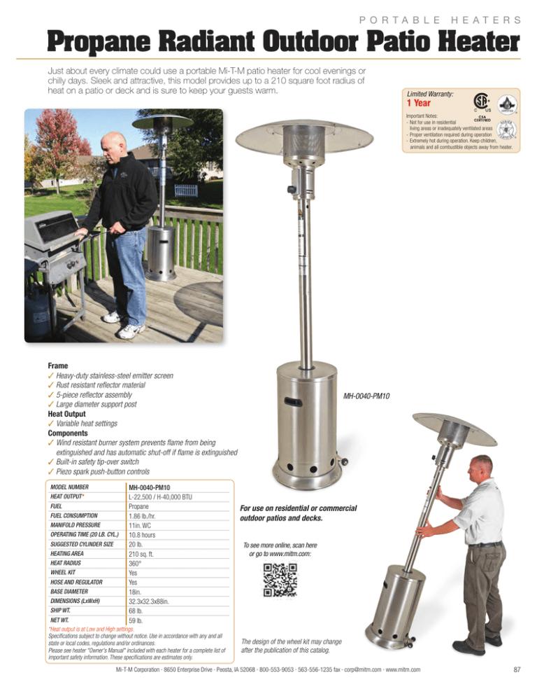 propane radiant outdoor patio heater