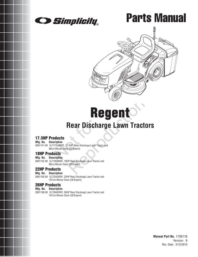 Not for Regent Parts Manual Rear Discharge Lawn Tractors