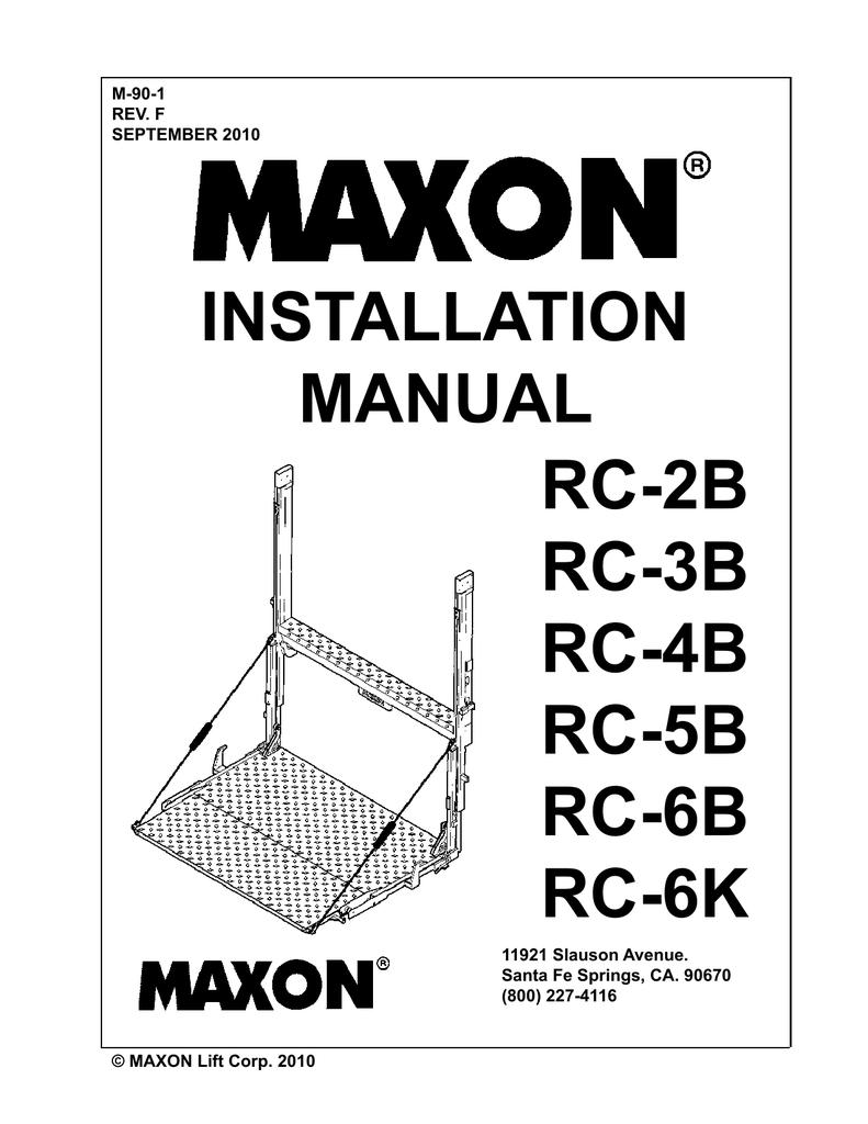 Installation Manual RC-2B,RC-3B, RC-4B, RC-5B, RC-6B, RC