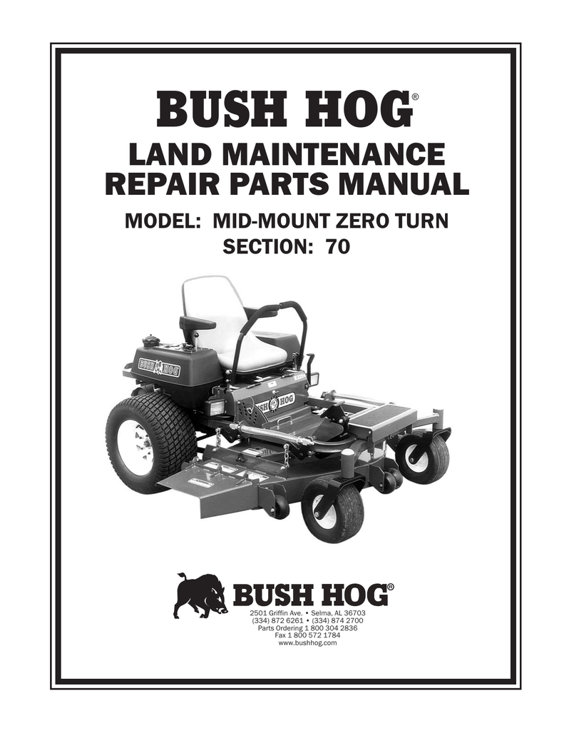 BUSH HOG LAND MAINTENANCE REPAIR PARTS MANUAL MODEL: MID