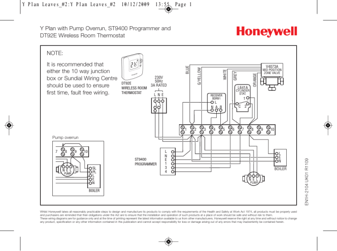 faq wiring diagram y plan pump overrun st9400 and dt92e