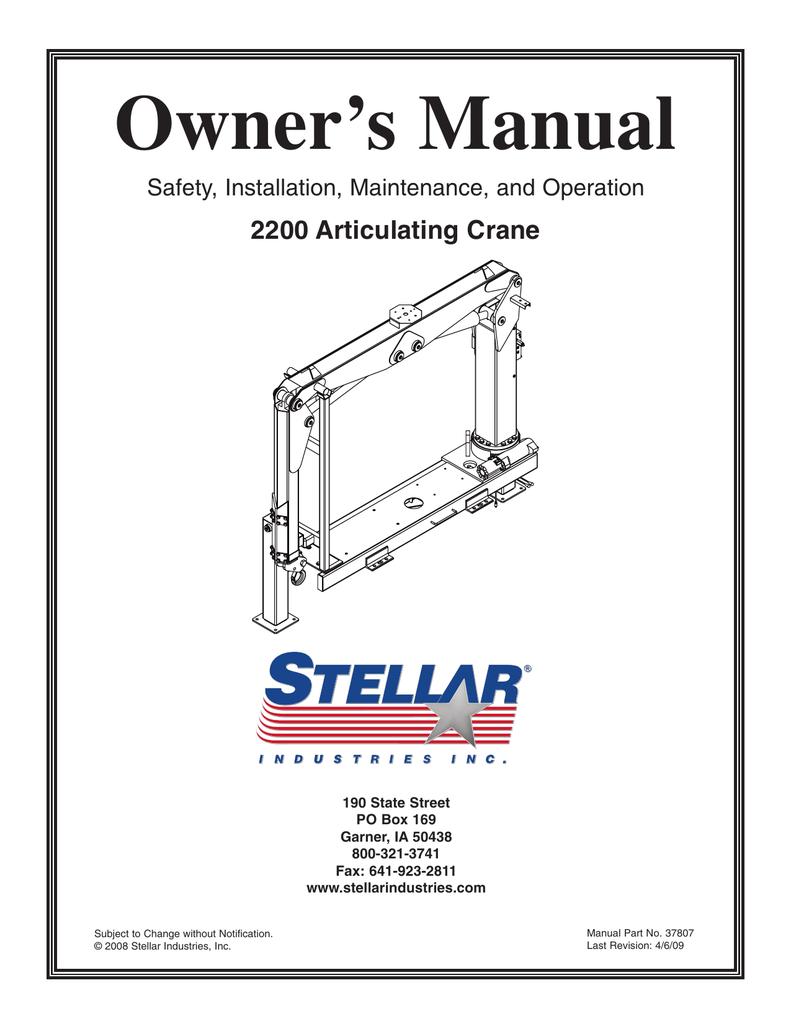 Owner's Manual 2200 Articulating Crane Safety