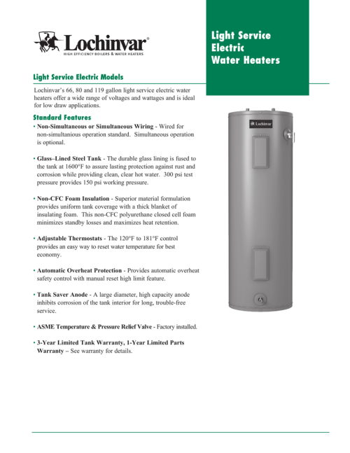 small resolution of light service electric water heaters light service electric models lochinvar s 66 80 and 119 gallon light service electric water heaters offer a wide range