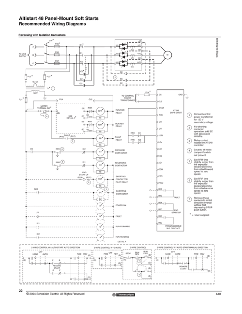 small resolution of recommended wiring for forward reverse starting of motor with ats48
