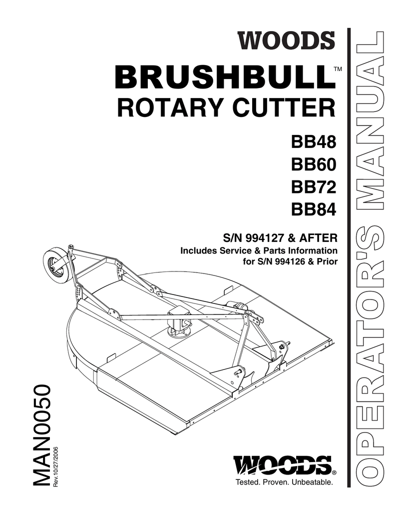 Operator's and Parts Manual for the Woods 72 Brushbull