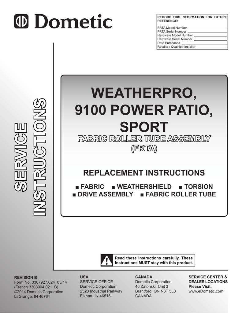 medium resolution of dometic weatherpro replacement manual 3307927 024