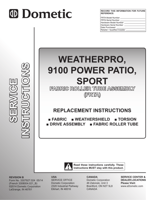 small resolution of dometic weatherpro replacement manual 3307927 024