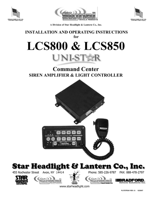 small resolution of lcs800 lcs850 command center siren amplifier light controller