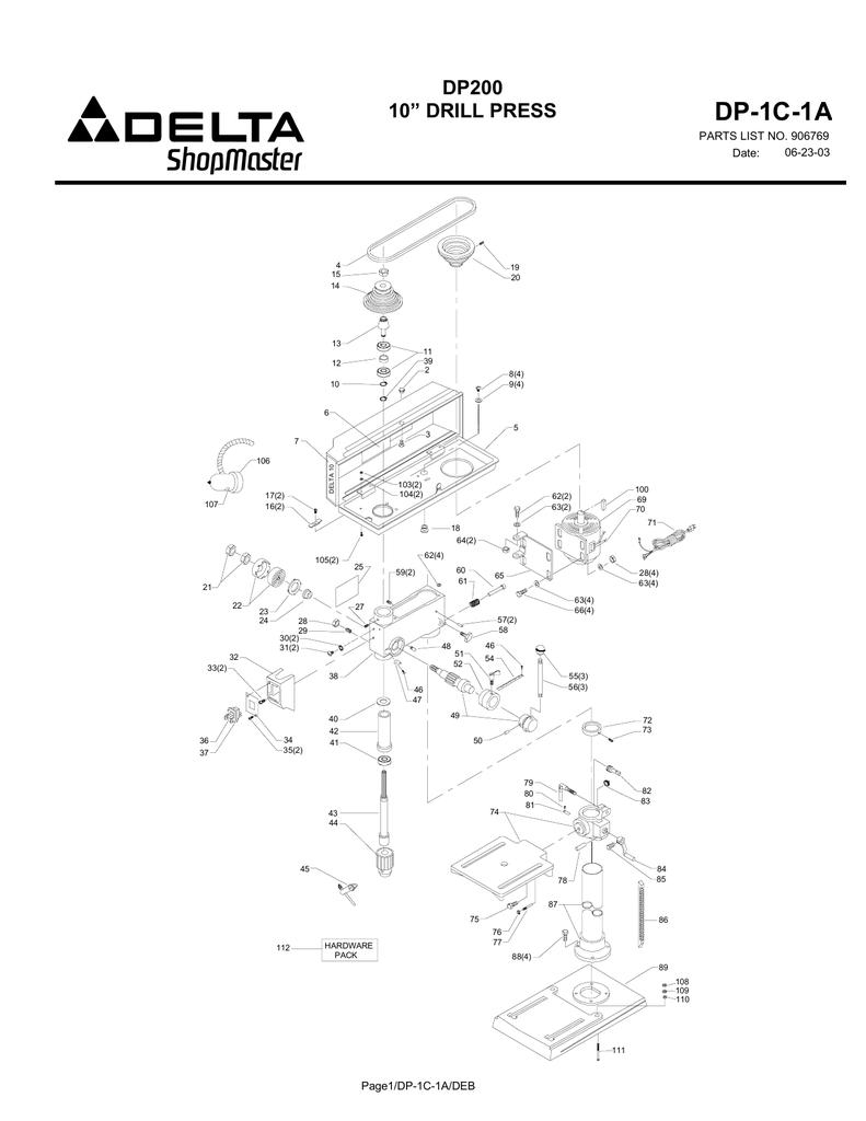 """DP-1C-1A DP200 10"""" DRILL PRESS PARTS LIST NO. 906769"""