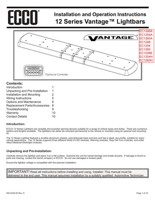 small resolution of 12 series vantage lightbars installation and operation instructions12 series vantage lightbars installation and operation