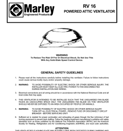 rv 16 read and save these instructions powered attic ventilator warning [ 791 x 1024 Pixel ]