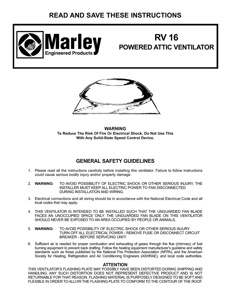 hight resolution of rv 16 read and save these instructions powered attic ventilator warning