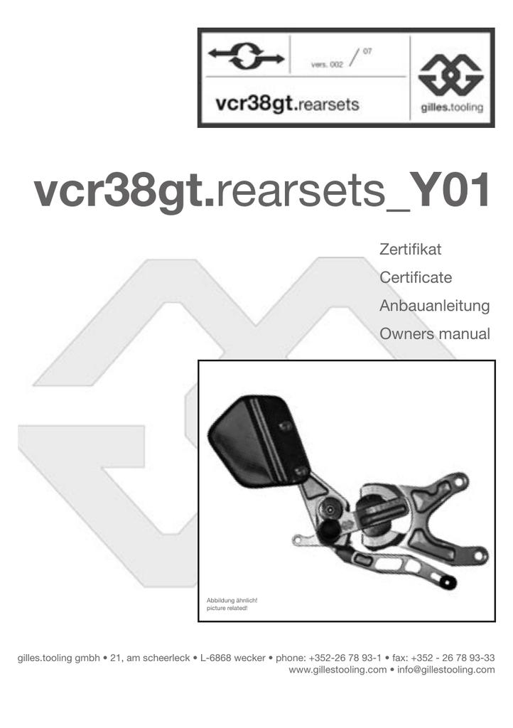 Montageanleitung Fußrastenanlage VCR38GT Yamaha YZF-R1 Bj