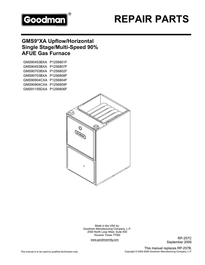 hight resolution of goodman gas furnace gms9 parts manual