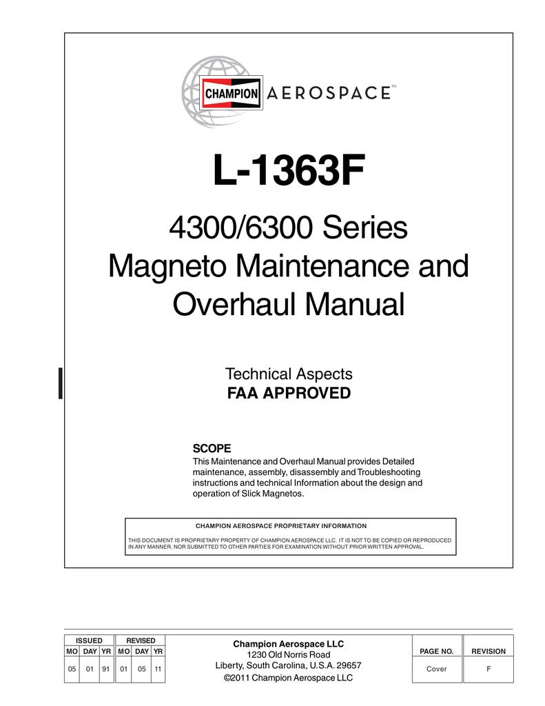 hight resolution of slick magneto overhall manual