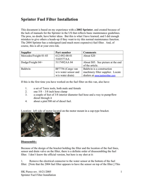 small resolution of t1n sprinter fuel filter installation