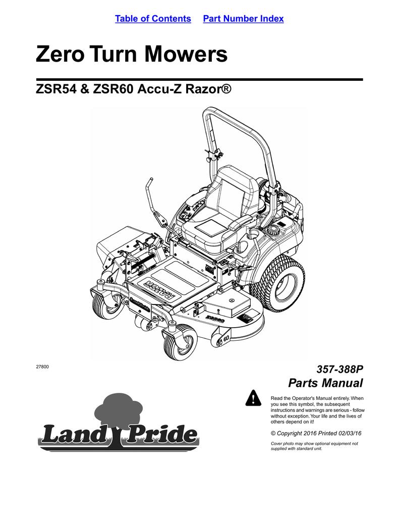 Zero Turn Mowers ZSR54 & ZSR60 Accu-Z Razor® Parts Manual