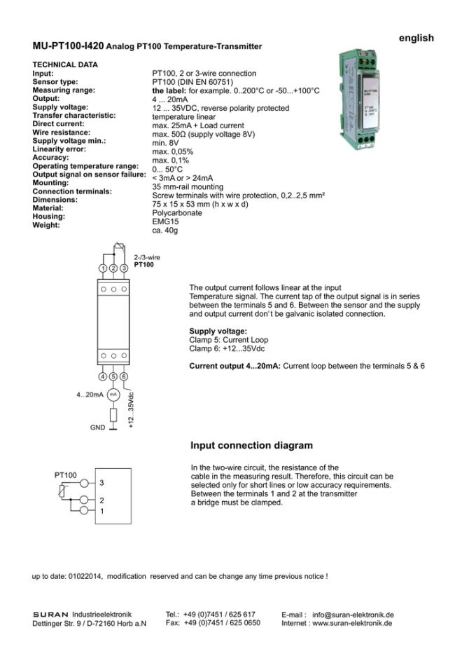 english mupt100i420 analog pt100 temperaturetransmitter