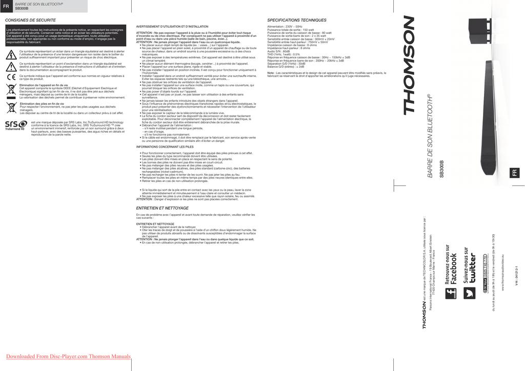 Thomson SB300B Operating Instructions Manual user guide