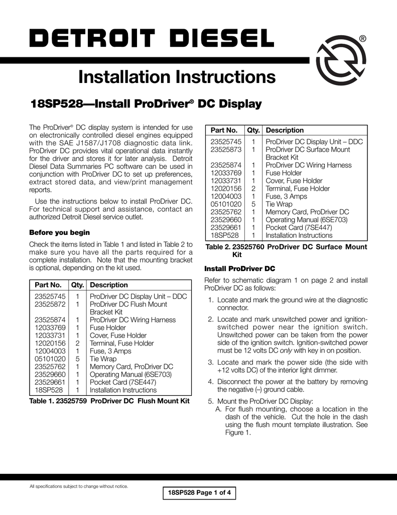 hight resolution of installation instructions 18sp528 install prodriver dc display the prodriver dc display system is intended for use on electronically controlled diesel