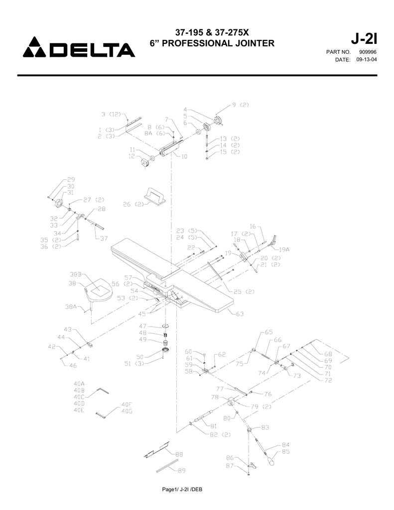"J-2I 37-195 & 37-275X 6"" PROFESSIONAL JOINTER PART NO"