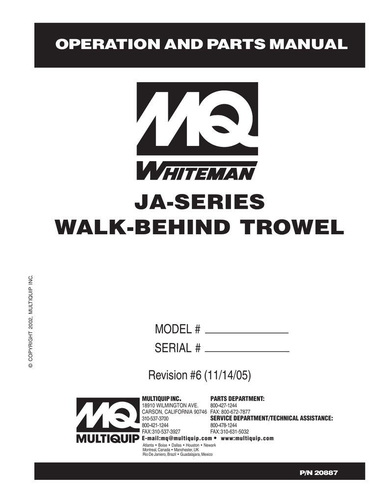 JA-SERIES WALK-BEHIND TROWEL OPERATION AND PARTS MANUAL