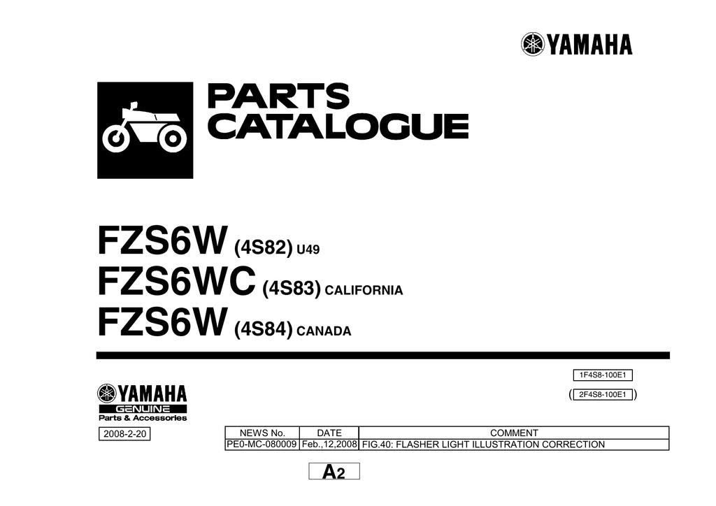 PARTS CATALOG Yamaha FZ6S VIN.JYARJ13E17A001899 (скачать