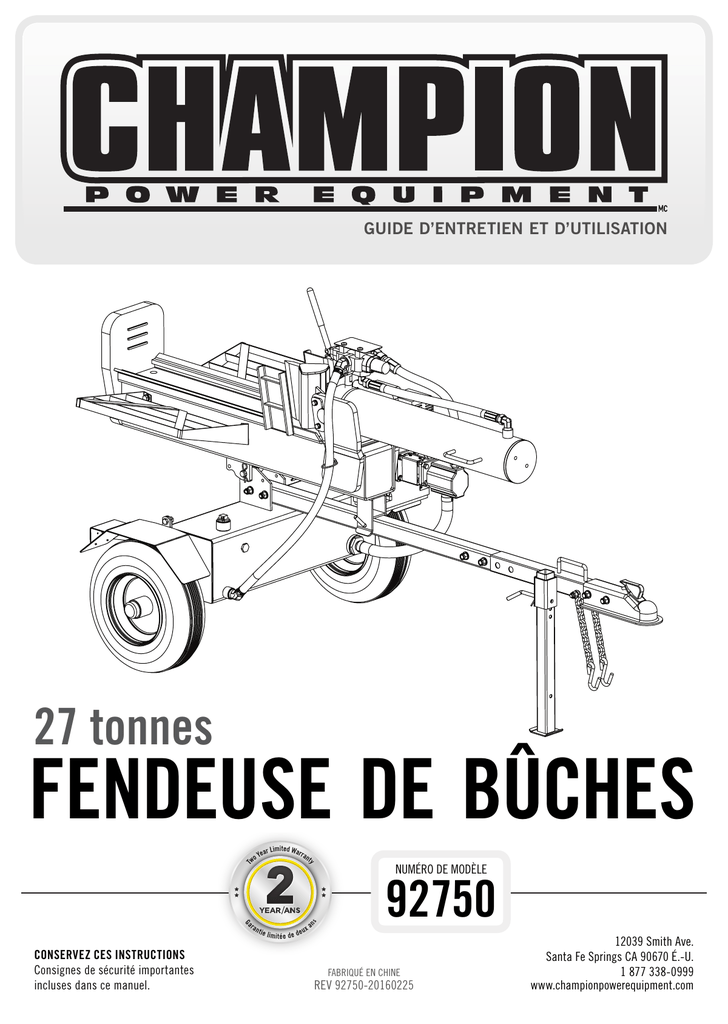 FENDEUSE DE BÛCHES 27 tonnes 92750 GUIDE D'ENTRETIEN ET D