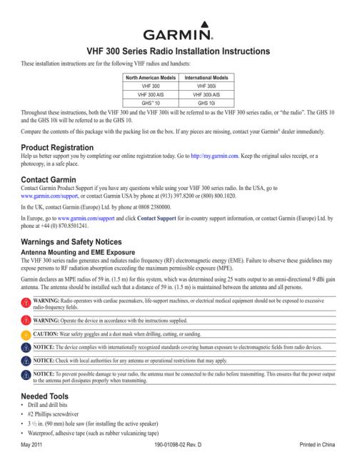 small resolution of vhf 300 series radio installation instructions