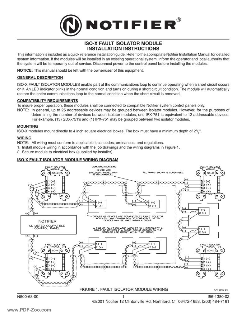 hight resolution of notifier iso x fault isolator module installation instructions