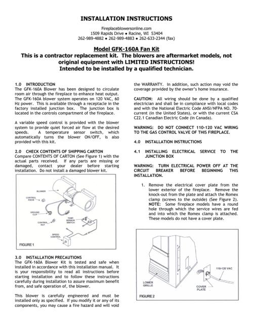 small resolution of gfk 160 blower kit installation instructions