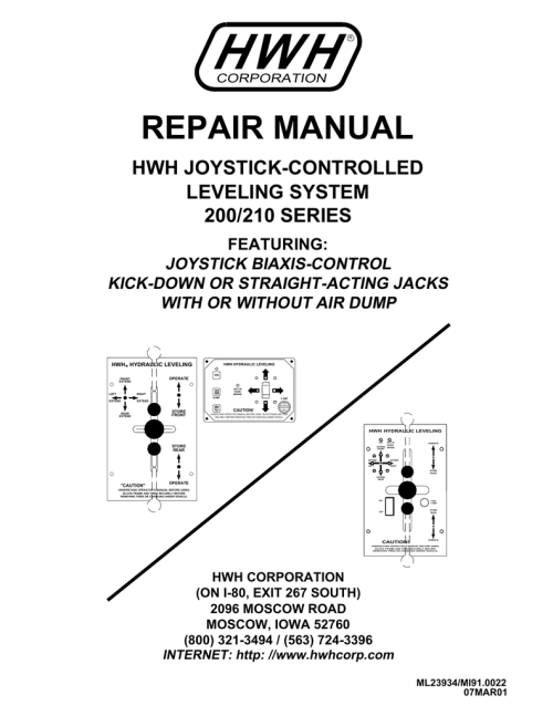 small resolution of hwh 200 series leveling system service manual
