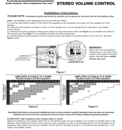vc 100rw stereo volume control installation instructions please note manualzz com [ 791 x 1024 Pixel ]