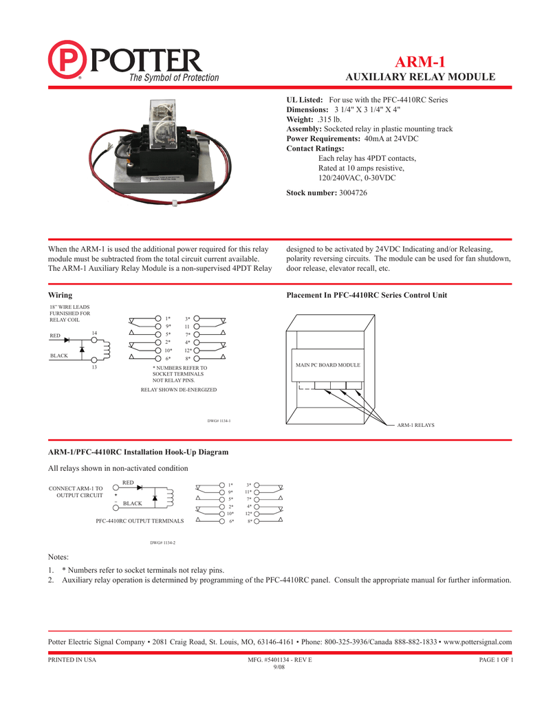 hight resolution of arm 1 auxiliary relay module