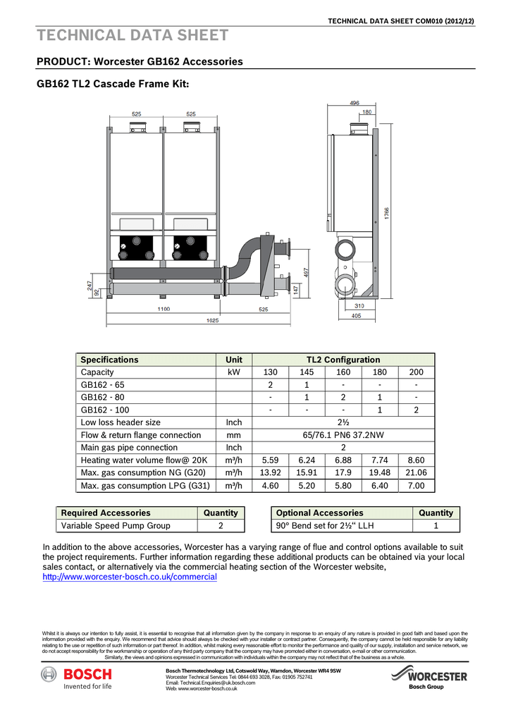 TECHNICAL DATA SHEET PRODUCT: Worcester GB162 Accessories