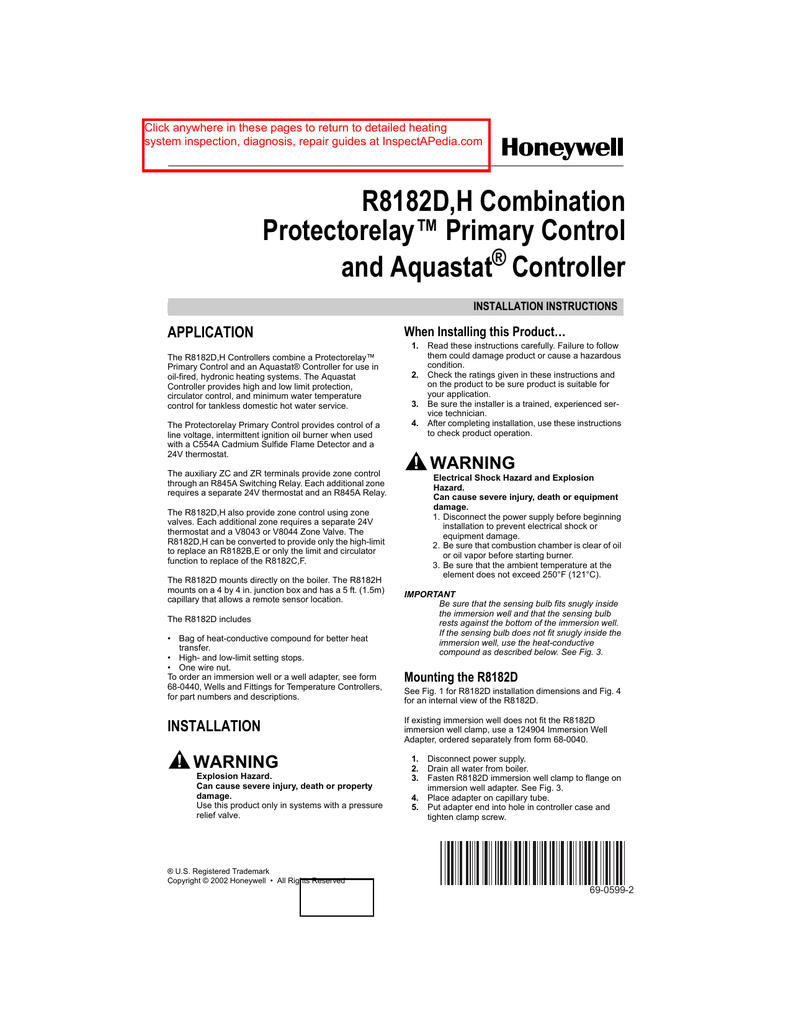 medium resolution of honeywell r8182d h combination protectorelay primary control and aquastat controller installation instructions