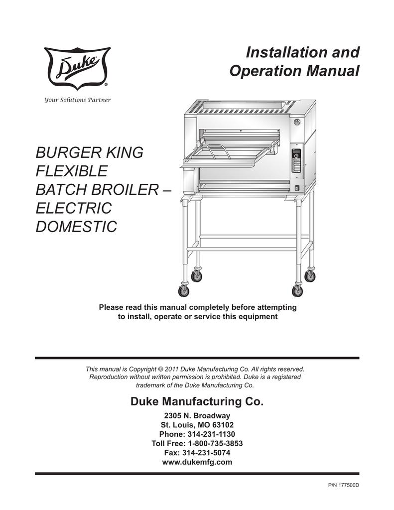 medium resolution of installation and operation manual burger king flexible