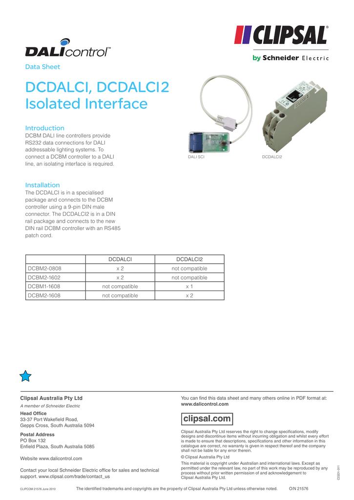 Clipsal Schneider DALI DCDALCI/DCDALCI2 Isolated Interface