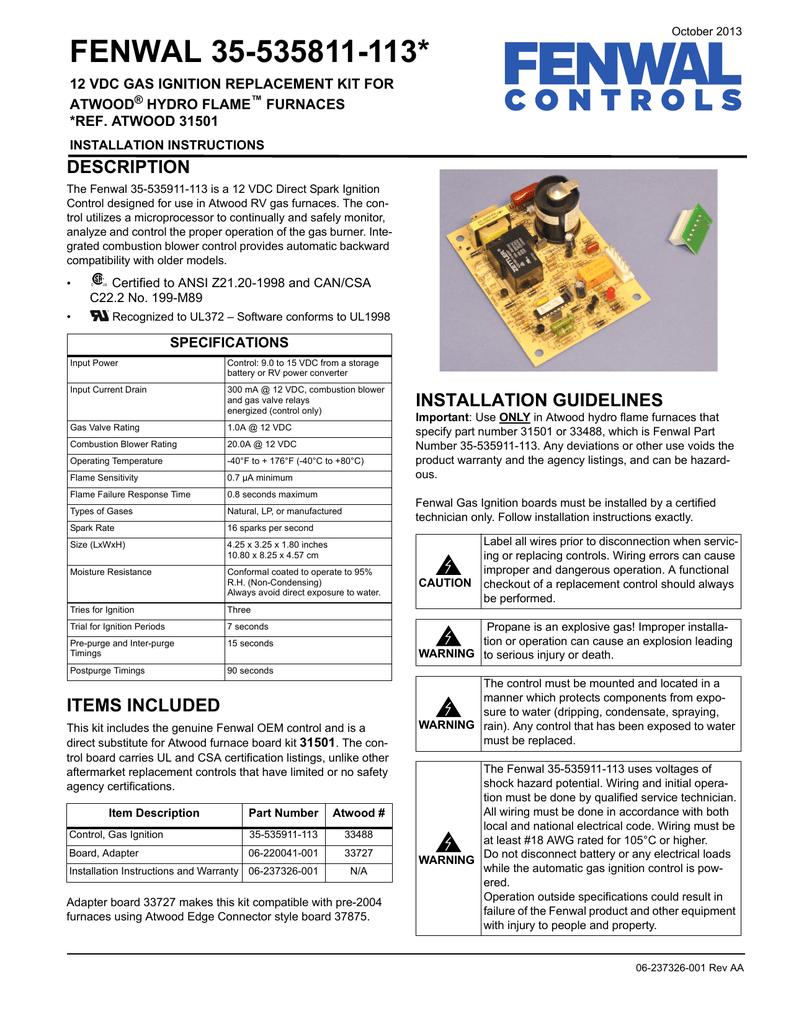 medium resolution of fenwal 35 535811 113 installation manual