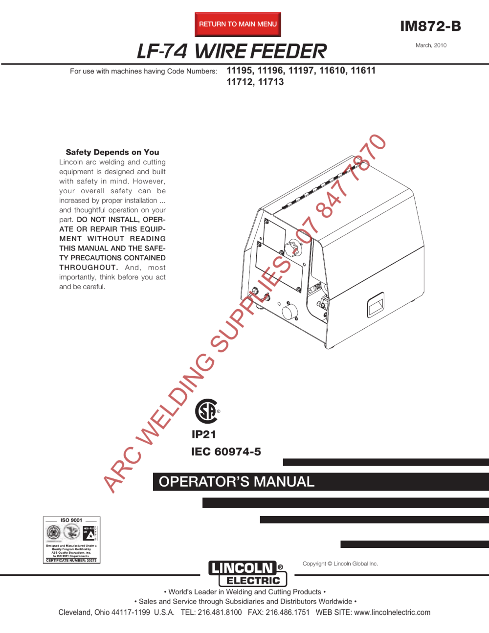 medium resolution of lf 74 wire feeder im872 b