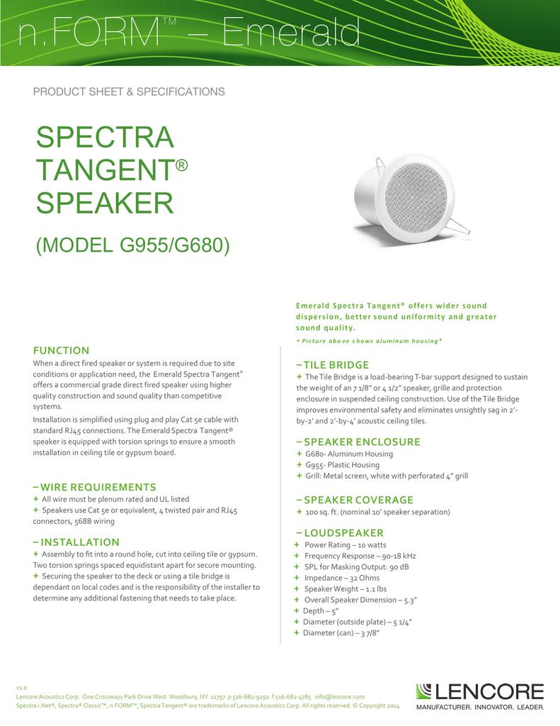 hight resolution of form tangent speaker data sheet