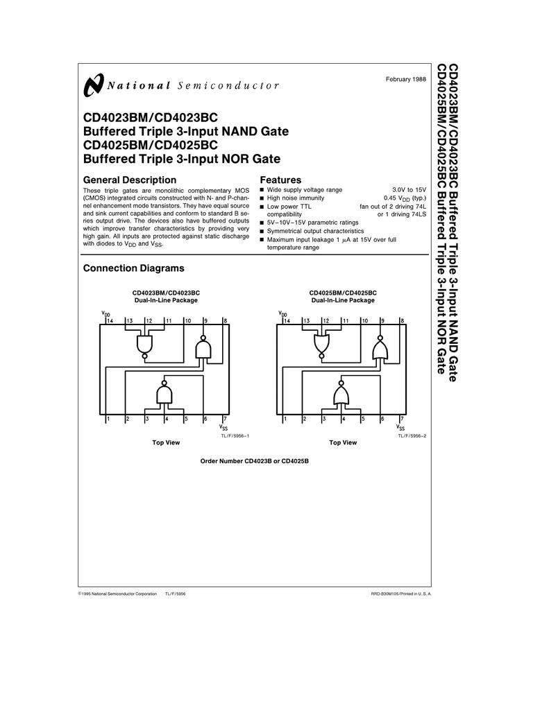 medium resolution of cd4023bm cd4023bc buffered triple 3 input nand gate cd4025bm cd4025bc buffered triple 3 input nor gate