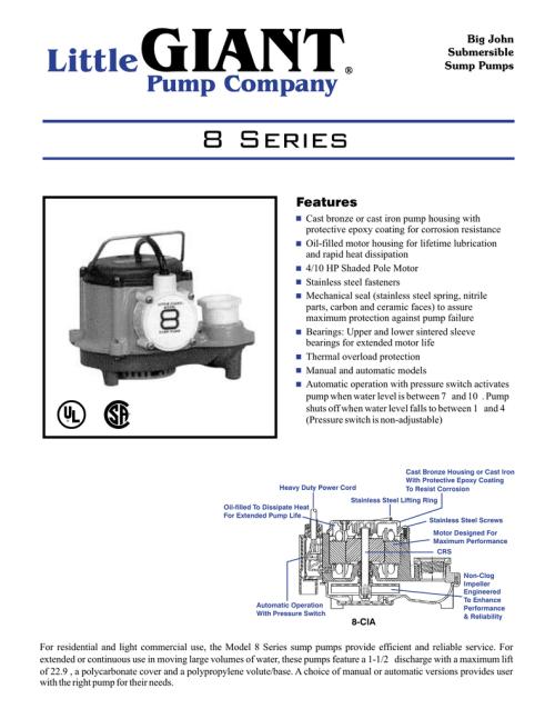 small resolution of 8 series manualzz com submersible sump pump diagram big john submersible sump pump source little giant