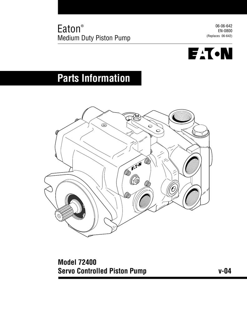 Eaton Parts Information Model 72400 Servo Controlled
